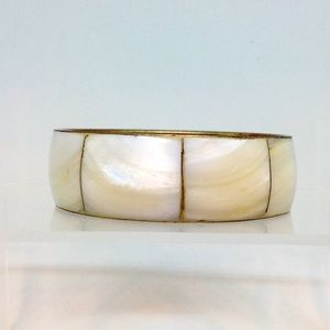 Mother of Pearl & Brass Cuff Bracelet Circa 1980s